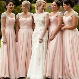 Wholesale Royal Blue Bridesmaid Bling Dress - Hot Sell Lace Bridesmaid Dresses Sexy Scoop Neck Bling Beaded Cap Sleeve Blush Pink Plus Size A Line Backless Chiffon Bridesmaid Dress