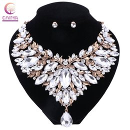 Wholesale China Boho - Boho White Crystal With Earrings 2017 Statement Necklace Women Jewelry Sets For Party Wedding Hot Sale Trendy Necklace