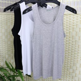 Wholesale In summer no trace of bamboo charcoal fiber underwear vest with a thin section of loose mast modal cotton vest rendering code