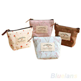 Wholesale Key Case Wallet Zip - Wholesale- Women's Lady Small Canvas Purse Zip Wallet Coin Key Holder Case Bag Handbag