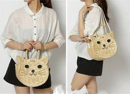Wholesale Straw Bags New - Wholesale-Free shipping b rand new Fashion Women Summer Round Cute Cat Straw Bags Beach Tote Shoulder Bag Handbag