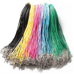 Wholesale Steel Wire Cord Necklace - New Fashion Wax Leather Necklace Beading Cord String Rope Wire multicolors Necklace Extender Chain DIY jewelry free shipping B1148