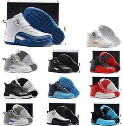 Wholesale Cool White Kids - ship BOX 2017 kids children air retro 12 Basketball Shoes White Flu gamma blue Playoff flint French Blue Cool Grey 12 Retro sneakers