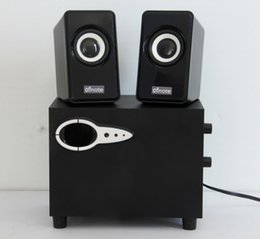 Wholesale Box Dvd China - Connect to PC, game console, iPod, DVD player Subwoofer Computer Speakers USB Home Multimedia Speakers Wooden Audio Black