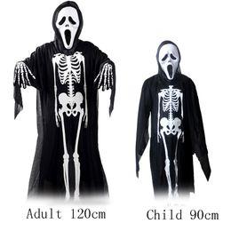 Disfraz de Esqueletos de Halloween Adulto y Niño 120 cm 90 cm Danza de la Mascarada Disfraz de Fantasma del Cráneo + terror Máscara de Zombie + Huesos Guantes Cosplay Props desde fabricantes