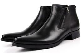 2019 ufficio di cuoio stivali da uomo in vera pelle nero punta a punta moda classica classico ufficio affari stivaletti caviglia scarpe uomo maschili sconti ufficio di cuoio