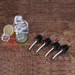 Wholesale Rubber Stopper Bottles - Liquor Spirit Pourer For Wine Bottle Spout with Rubber Stopper Stainless Steel Bottle Mouth Bottles Stoppers Express Free Shipping 1 15zy