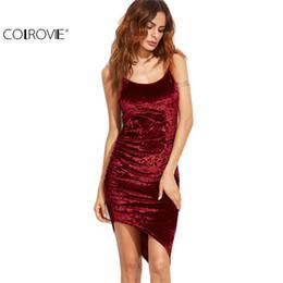 Wholesale Cami Mini - Wholesale- COLROVIE Burgundy Ruched Asymmetric Velvet Cami Dress Sexy Ladies Club Wear Sleeveless Slip Bodycon Mini Dress