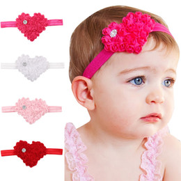 Wholesale Wholesale Rhinestone Floral - Girls Chiffon flower hairband Solid color loving heart 9.5*7.5cm headband infants Baby cute rhinestone Hair Accessories 4colors