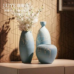 Wholesale Ceramic Bottle Vase - Handmade vase French artificial flower ceramic set chinese style decoration bottle home accessories Vase