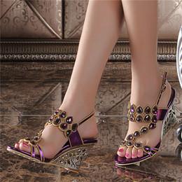 Wholesale Korean Party Wedges Heels - Large Size Women Summer Purple Wedge Sandals 2017 New Korean Luxury Diamond Sexy High-heeled Flowers Crystal Shoes 9QL