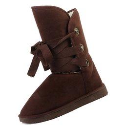 Wholesale Winter Woolen Shoes - Wholesale- IMC Winter Woolen Lace Up Snow Women Boots Shoes ladies