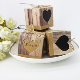 Wholesale Wedding Love Favors Candy - Candy Boxes Love Heart Shape Kraft Paper Square Box With Rope European Style Personalized Party Wedding Favors 0 25zj F R