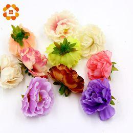 Wholesale Fake Flower Crafts - Wholesale- 10pcs Silk peony Handmake Artificial Flower Heads for Wedding gifts Decoration DIY Wreath Gift Scrapbooking Craft Fake Flower