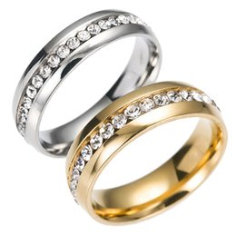 Wholesale white gold band diamond ring - Stainless Steel Crystal Wedding Rings One Row Rings diamond Gold Ring Finger Rings Couple Ring band for Women Men Wedding Jewelry Drop Ship
