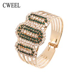 Wholesale Vintage Crystal Jewellery Sets - Wholesale- CWEEL Jewellery Pulseira Bangle For Women Jewelry African Bridal Vintage Holiday Imitated Crystal Bracelets Gold Plated Party