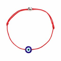 Wholesale charm strings - 1pcs lot Simple Stylish a bracelet Red thread Red String & Blue Evil Eye Bracelet Good Luck Bracelet For Women