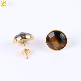 Wholesale Carved Natural Turquoise - CSJA Femme 18K Gold Ear Jewelry Diamond Cutting Carved Surface Natural Gemstone Stud Earrings Nature Red Black Agate Piercing Earring E597