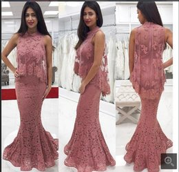 Wholesale Evening Shawls Tulle - Elegant Mermaid Lace Prom Dresses High Neck Muslim Party Dress Formal Evening Party Gowns With Shawl