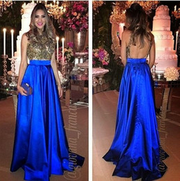 Wholesale robes pageant - Elegant Royal Blue Celebrity Evening Dresses 2017 Long Beadings Backless Pageant Prom Gown For Special Occasion Party Dress robe de soiree