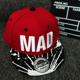 Wholesale Kids Flat Baseball Caps - 2017 Trend Hat Snapback Cap Children Embroidery MAD Letter Baseball Caps Kid Boys And Girls Flat Hip Hop Cap