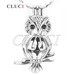 Wholesale High Quality Owl Pendant - Free Shipping Fashion Design and High Quality 18K Silver Plated Owl with Zircon Locket Pendant 5pcs 25*15.6*10.7mm