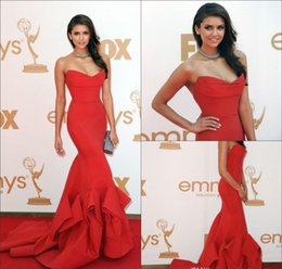 Wholesale Nina Dobrev Emmy Dress - 2017 New Emmy Awards Celebrity Dresses With Strapless Ruffles Backless Mermaid Sweep Train Satin Red Nina Dobrev Evening Prom Party Gowns