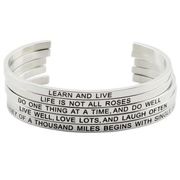 Wholesale Wholesale Bracelets Positive - Hot Sale Silver Color 316L Stainless Steel Engraved Positive Inspirational Quote Cuff Mantra Bracelet Bangle Jewelry for Women
