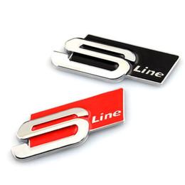 Wholesale Audi Metal Stickers - 3D Metal S Line Sline Car Sticker Emblem Badge Case For Audi A1 A3 A4 B6 B8 B5 B7 A5 A6 C5 Accessories Car Styling