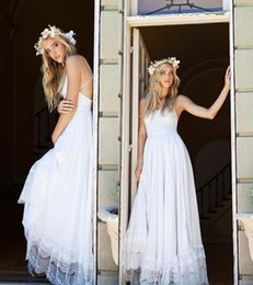 Wholesale Pink Cheap Chiffon Skirt - White,Ivory Beach Wedding Dresses Pleats Chiffon with Floral Lace Summer Bridal Gowns Country Wedding Gowns Spaghetti Wedding Dresses Cheap