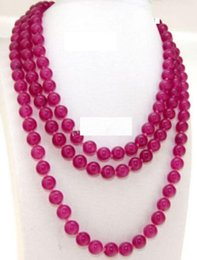 Wholesale Rose Ruby Necklace - Free Shipping >>>>Natural 8mm Rose Red Ruby Round Gemstone Beads Necklaces 50 inches AAA
