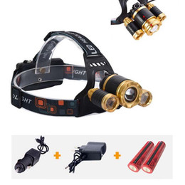 Wholesale High Power Led Torch Light - High Power 5000lum Zoomable Headlight Headlamp CREE LED T6 + 2*XPE Head Lamp Light Torch Flashlight 4 Modes With 18650 Battery+charger