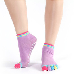Wholesale Print Ankle Socks Womens - Wholesale- Womens Cotton Colorful Dot Sock Casual Non Slip Massage Toe Socks Full Grip With Socks Heel Ankle High Low Cut