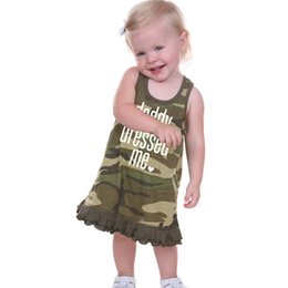 Wholesale 4t Camouflage Clothes - New Fashion Girls Dress Children Clothing Camouflage Letters Sleeveless Pure Cotton Girl's Casual Suspender Dress Green 80-130cm A6992