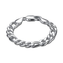 Wholesale 925 Mens Bracelet - YUEYIN 925 Silver Plated Mens Bracelet Bangle Wristband Link Chains Snake Chains Fashion Jewelry