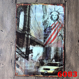 "Wholesale Metal Stamping Craft - metal painting vintage tin signs"" Statue of Liberty postage stamp"" home decor bar pub wall art craft 20X30CM"