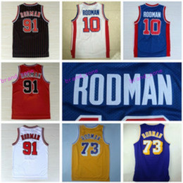 Wholesale Retro Shirts - 2017 Retro 10 Dennis Rodman Jersey 73 Rev 30 New Material 91 Dennis Rodman Throwback Shirt Fashion Uniform Home Blue Yellow White Red