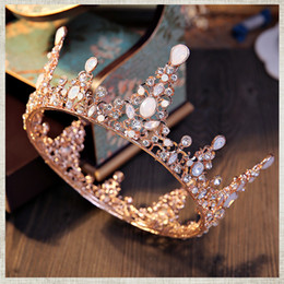 Wholesale Gray Fairy - 2017 New Baroque Vintage crowns tiaras beaded crown headpieces for wedding bride Bridal Luxury Crystal Hair accessories Free Shipping