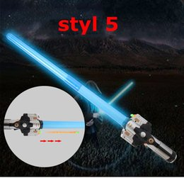 Wholesale Led Light Weapon - Lightsaber Light Saber Telescopic LED Weapons Laser Sword Toy with Light Sounds Action Figure Cosplay Toys free shipping
