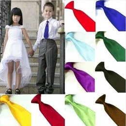 Wholesale Kids Neck Chokers - Wholesale- 9 Colors School Children Elastic Neck Tie Necktie Prom Kids Boys Party Wedding Choker Ties Party Wedding