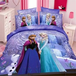 Wholesale Sheet Set Single Girl - Wholesale- magic queen girls twin single size bedding set duvet cover bed sheet pillow case 2 3pcs bed linen set,blue,purple,pink