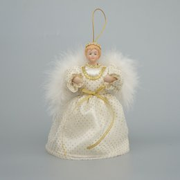 """Wholesale Ceramic Christmas Doll - Wholesale- Cosette Angel Tree Topper Christmas Decoration Home Ornament Doll Gifts 6"""""""