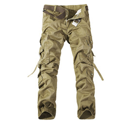 Wholesale Casual Army Camo Pants - 2017 Worker Pants CHRISTMAS NEW MENS CASUAL ARMY CARGO CAMO COMBAT WORK PANTS TROUSERS 11 COLORS SIZE 28-38