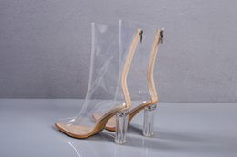 Wholesale White Gladiators High Heeled Sandals - PVC made hollow out heel women ankle sandals behind zipper pointed toe fashion dress shoes lady party pumps