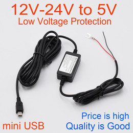Wholesale 12v 24v Voltage Converter - Wholesale- High Quality Car DC Converter Module 12V 24V To 5V 2A with mini USB Cable, Low Voltage Protection, Cable Length 3.5m ( 11.4ft )