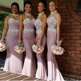 Wholesale Dress Best Popular - Best Sale!! Satin Bridesmaid Dresses Garden Appliques Belt Sheath Party Gowns High Neck Fashion See Through Custom Size Sleeveless Popular