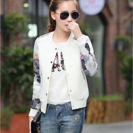 Wholesale Women Plus Size Baseball Jacket - Wholesale- 2016 Flower Print Plus Size Leisure Baseball Jacket Women Round Collar Button Thin Bomber Jacket Long Sleeves Casual Coat