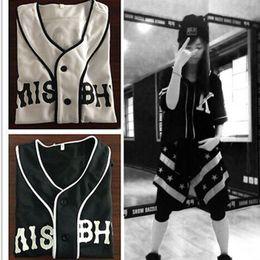 Maillots de baseball unisexe en Ligne-Vente en gros-Baseball Jersey Kanye Hip Hop Rue Danse 07 K Unisexe T-shirt Streetwear Baseball Shirt Camiseta Beisbol