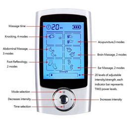 Wholesale Tens Electronic Pulse - 16 Modes TENS Unit Digital Electronic Pulse Massager Therapy Muscle Full Body Mini Acupuncture Magnetic Therapy Tens Massage Silver Blue