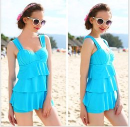 a61f77a65ffb9 Skirt split swimsuit lady solid color conservative cover belly small chest  gather high waist hot spring
